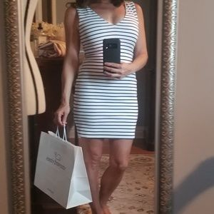 Dresses & Skirts - Navy & White Striped fitted stretch Summer dress